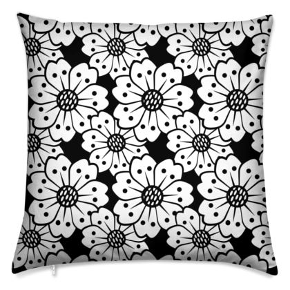 Oversized Cherry Blossoms Black and White Pattern Cushion