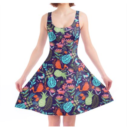Robe Patineuse tropical violet multicolore