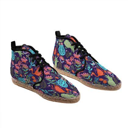 Espadrilles hautes violet tropical multicolore