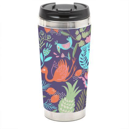 Mug de voyage tropical violet multicolore