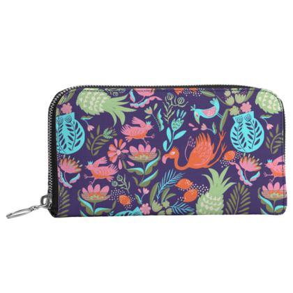 Portefeuille zippé tropical violet multicolore
