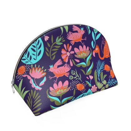 Porte-monnaie en cuir tropical violet multicolore