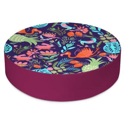 Coussin de sol rond tropical violet multicolore