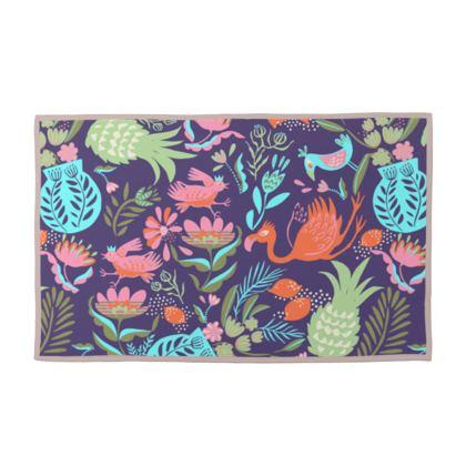 Serviettes éponge tropical violet multicolore