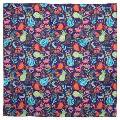 Foulard ou châle tropical violet multicolore