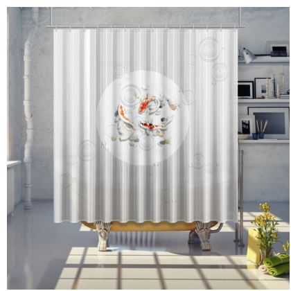 Shower Curtain - Large 'Clear Water Koi' Artwork One