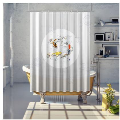 Shower Curtain - Medium 'Clear Water Koi' Theme Art Two