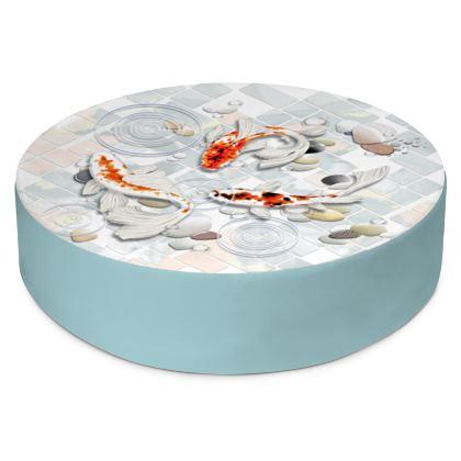 Round Floor Cushion 'Clear Water Koi Designs'
