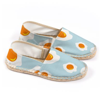 Espadrilles with BIG omelet print.
