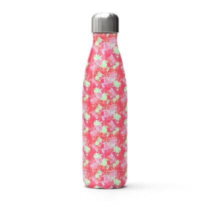 Stainless Steel Thermal Bottle Red, Floral  Fuchsias  Hot Pepper