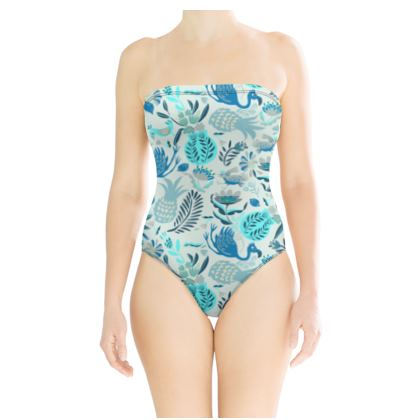 Maillot de bain tropical bleu