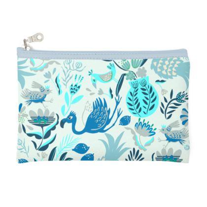 Pochette zippée tropical bleu