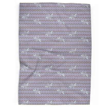 Field of Bees Lavender Cream Pattern Tea Towel