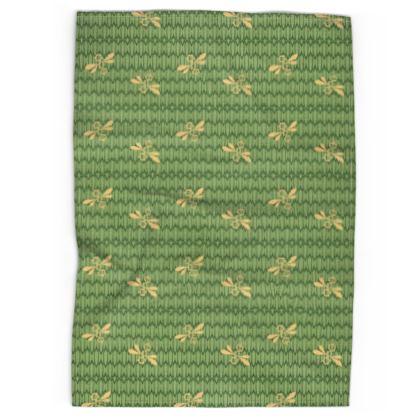 Field of Bees Honey Green Pattern Tea Towel