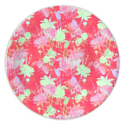 China Plates [wall display] Red, Floral  Fuchsias  Hot Pepper