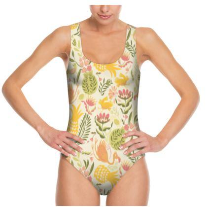 Maillot de bain une pièce à bretelles tropical jaune