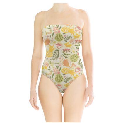 Maillot de bain bustier tropical jaune vitaminé