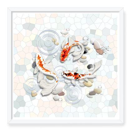 Framed Art Prints 'Clear Water Koi' Artwork One 24x24 inch