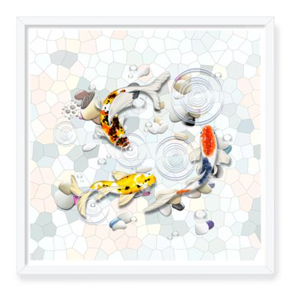 Framed Art Prints 'Clear Water Koi' Artwork Two 24x24 inch