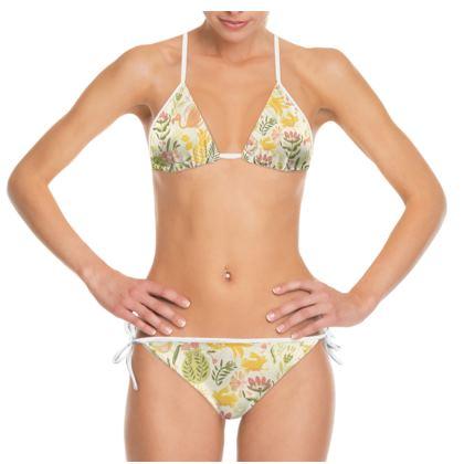 bikini motif tropical jaune vitaminé