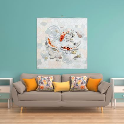 Wall Hanging 'Clear Water Koi' Artwork One 140x140cm