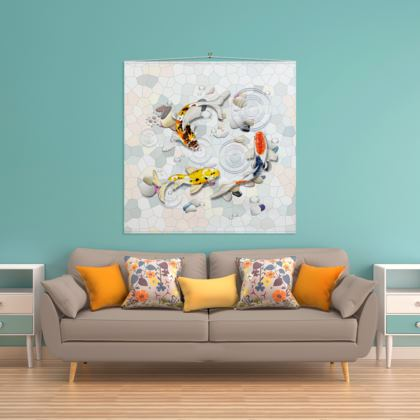 Wall Hanging 'Clear Water Koi' Artwork Two 140x140cm