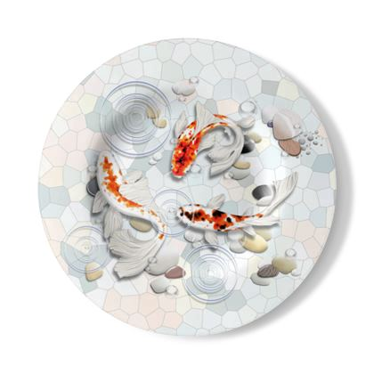 Decorative Wall Plate 'Clear Water Koi' Artwork One