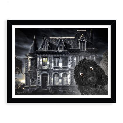 """Doodle visits spooky mansion framed art print ~ 12"""" x 16"""" black"""