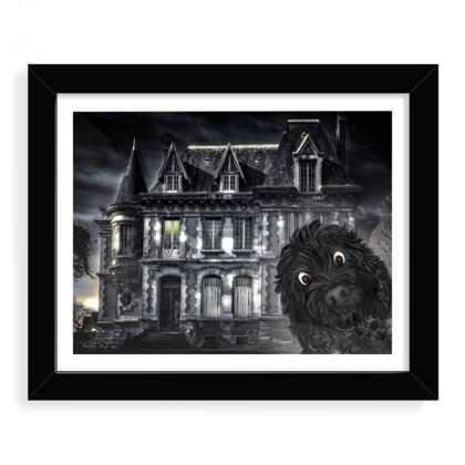 """Doodle visits spooky mansion framed art print 8"""" x 10"""" Black"""