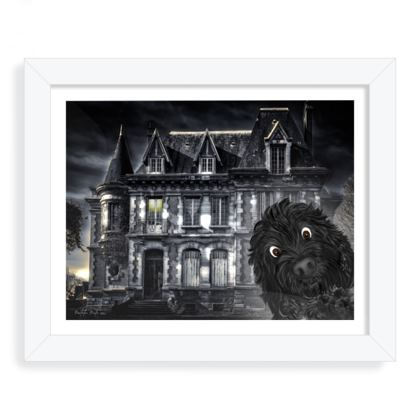 "Doodle visits spooky mansion white Framed art print 8"" x 10"" white"