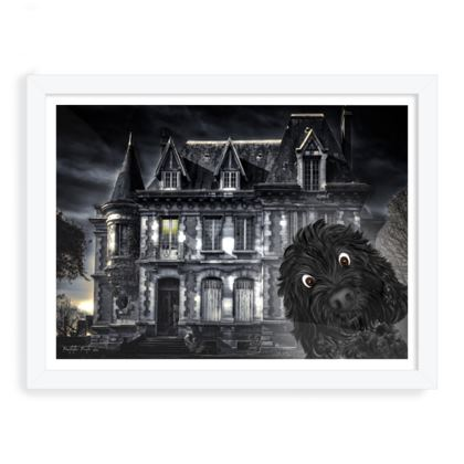 "Doodle visits Spooky mansion ~ large size 12"" x 16"""