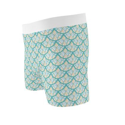 Mermaid Scales Seaside Pattern Boxer Briefs