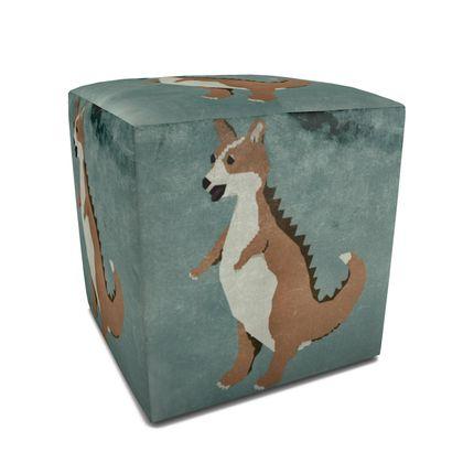 Square Pouffe - Corginnosaurus Rex - V2