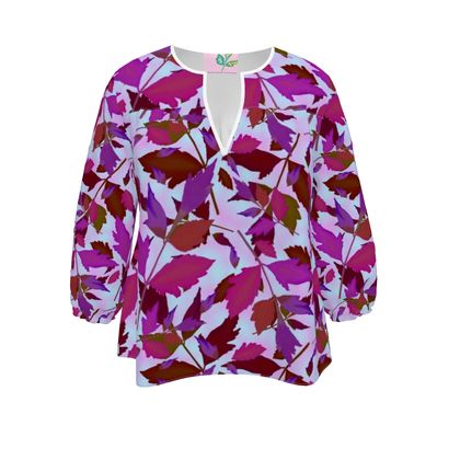 Womens Blouse mauve  Cathedral Leaves  Anemone