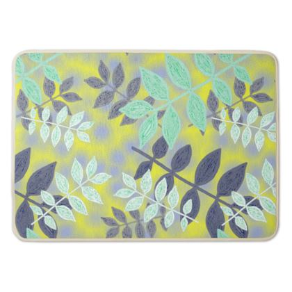 Bath Mat  Yellow, Green, Botanical  Etched Leaves  Sunlight