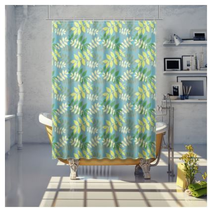 Shower Curtain Green, Yellow  Etched Leaves Green Glade