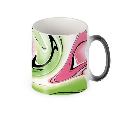 Heat Changing Mug - Multicolour Swirling Marble Pattern 2 of 12