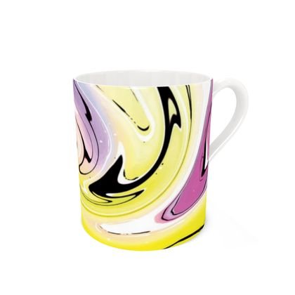 Bone China Mug - Multicolour Swirling Marble Pattern 3 of 12