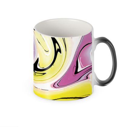 Heat Changing Mug - Multicolour Swirling Marble Pattern 3 of 12