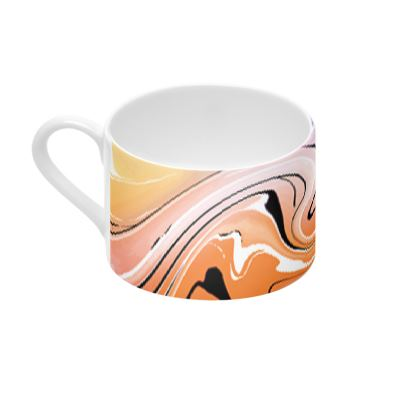 Cup And Saucer - Multicolour Swirling Marble Pattern 4 of 12