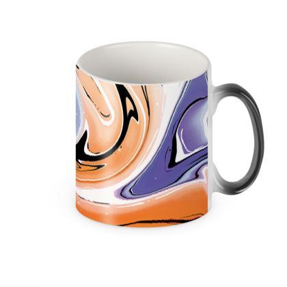 Heat Changing Mug - Multicolour Swirling Marble Pattern 4 of 12