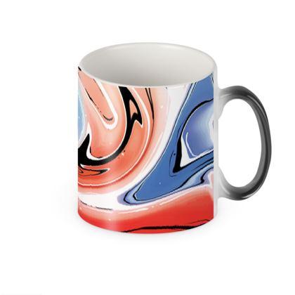 Heat Changing Mug - Multicolour Swirling Marble Pattern 5 of 12