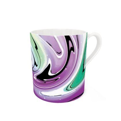 Bone China Mug - Multicolour Swirling Marble Pattern 7 of 12