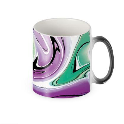 Heat Changing Mug - Multicolour Swirling Marble Pattern 7 of 12