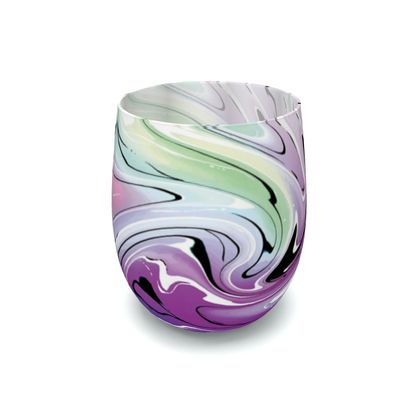 Water Glass - Multicolour Swirling Marble Pattern 7 of 12