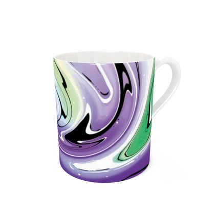 Bone China Mug - Multicolour Swirling Marble Pattern 8 of 12