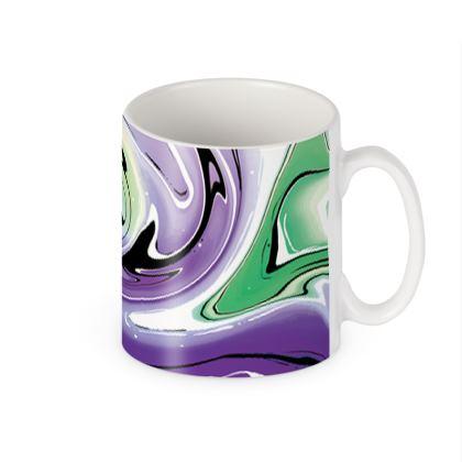 Builders Mugs - Multicolour Swirling Marble Pattern 8 of 12