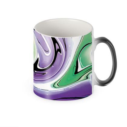 Heat Changing Mug - Multicolour Swirling Marble Pattern 8 of 12