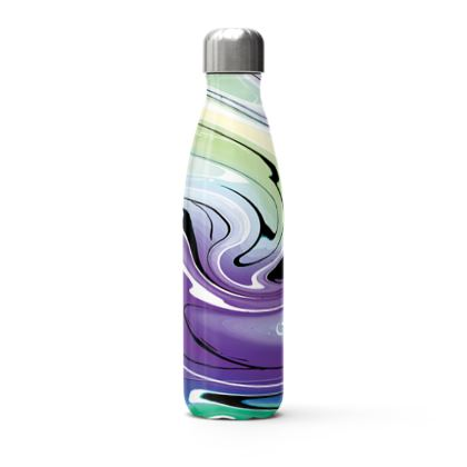 Stainless Steel Thermal Bottle - Multicolour Swirling Marble Pattern 8 of 12