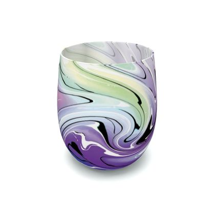 Water Glass - Multicolour Swirling Marble Pattern 8 of 12